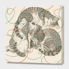 """Cats"", Numbered Edition Canvas Print by Laura Graves - From $69.00 - Curioos"