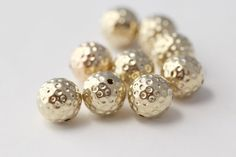 Gold Acrylic Dimpled Round Polka Dot Beads 14mm by ReductionNation