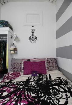 very fun bedroom for a teen girl. AWESOME! i need to do this for my room. i love the play of colors with the nice gothic patterns!