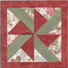 """""""Quilted"""" cards, all paper folding. 4 Square Block 2."""