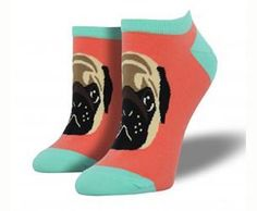 It's a pug lyfe! Detailed graphic pug face on papaya with black toe, heel & band. These cute peds are 63% cotton, 34% nylon, 3% spandex. Fits approximate women's shoe sizes 5–10.5.