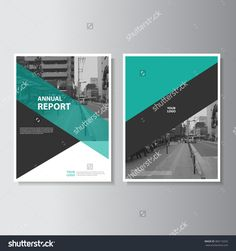 green annual report brochure flyer design template vector leaflet