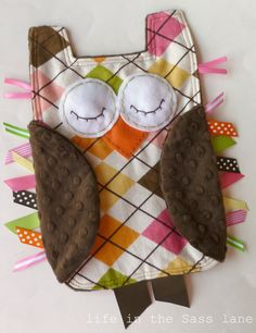 Argyle OWL Ribbon Tag Baby Blanket in Pink, Green, Brown, Orange and Yellow Flannel Minky Blankie Lovey Lovie Baby Gift