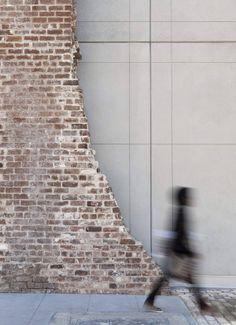 SCAD Museum of Art in Savannah, historic brick ruin contrasts cast concrete structure