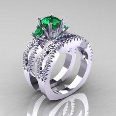 Idée et inspiration bague:   Image   Description   Modern French 14K White Gold Three Stone Emerald Diamond Engagement Ring Wedding Band Set R140S-14KWGDEM