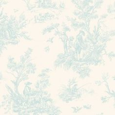 """AB27654  from Abby Rose 2 is a toile in natural and blue.  Designed for Patton, this collection consists of 20.5""""/52 cm wide wallpapers that are prepasted and solid vinyl."""