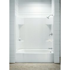 Sterling 71140126 Accord x x Bath/Shower with Age in Place Backers - White Tub Soaking Alcove Plank, Bathtub Shower Combo, Bath Shower, Shower Kits, Grab Bar Installation, Bathtub Walls, Shower Walls, Bathtub Surround, Shower Surround