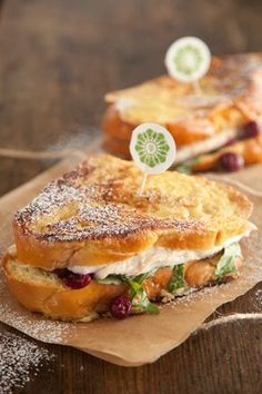 Paula Deen's Turkey Cranberry Monte Cristo. I'd leave out the arugula and add bacon