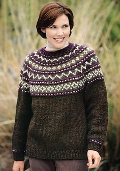 Ravelry: Knit Yoke Sweater free pattern by Lion Brand Yarn