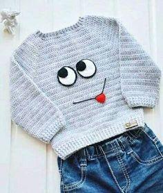 Cute idea for a crochet pullover! Crochet For Boys, Knitting For Kids, Baby Knitting, Boy Crochet, Crochet Baby Sweaters, Crochet Baby Clothes, Crochet Hats, Crochet Toddler Sweater, Baby Boy Sweater