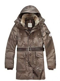 3286e37f6dc1 Moncler Down Coats Mens Mid-Length Hooded Coffee