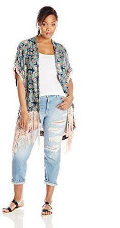 Plus Size Woven Kimono with Fringe Hem