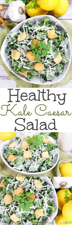 The Best Healthy Caesar Salad recipe with kale and homemade greek yogurt caesar dressing! A clean eating, easy idea for lunches, meals or dinners. Topped with parmesan and whole wheat croutons! / Running in a Skirt Clean Eating Vegetarian, Clean Eating Salads, Clean Eating Dinner, Clean Eating Recipes, Healthy Eating, Best Salad Recipes, Kale Recipes, Vegetarian Recipes, Healthy Recipes