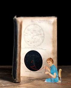 Thomas Allen découpe des illustrations dans des vieilles encyclopédies ou livres scientifiques pour créer ces mises en scènes.