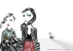 Prada F/W 2013 by Simona Murialdo Illustration.Files: Milan Fashion Week by Simona Murialdo   Draw A Dot.