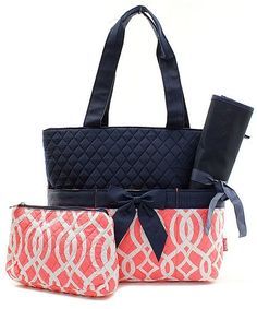 Vine Trellis Coral Navy Blue Quilted Diaper Bag Baby Tote & Changing Pad Set