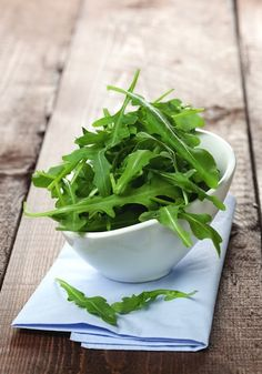 ARUGULA:  This dark, leafy green is an excellent source of two of the keys to gorgeous skin:Vitamin A and sulfur. The chlorophyll in arugula is a potent detoxifier, too.    Try a raw arugula salad topped with the rest of the foods on this list for a delicious dish that will get your skin glowing.