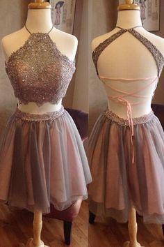 Short Homecoming Dress,Two Pieces Homecoming Dress,Open Back Homecoming Dress,High Neck Homecoming Dress,Graduation Dress