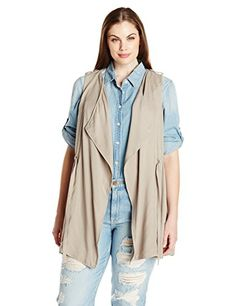 BB Dakota Women's Plus-Size Abaline Rayon Twill Utility Vest *** Continue to the item at the image link.