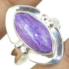 Charoite Sterling Silver Ring Jewelry Size- 8 SR-584 #Allisonsilverco