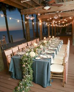 Bohemian Glam Beach Wedding With Navy Blue Burlap Linens And Fl Garland Centerpieces On Long Feasting Tables At Clearwater Venue Hilton