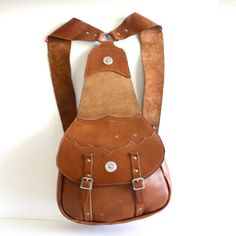 Vintage Leather Hand Crafted Western Backpack by pascalvintage