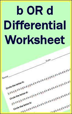 b or d differential worksheet! Free printable!