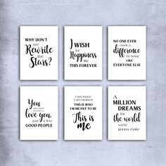A set of 6 unframed prints featuring quotes and lyrics from the movie The Greatest Showman. Nursery Prints, Nursery Wall Art, Art Prints Quotes, Wall Art Prints, Love My Husband Quotes, Thing 1, Personalised Prints, The Greatest Showman, Movie Quotes