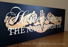Home is Where the Navy Sends Us - Painted Wooden Sign with Submarine Dolphins, also available with anchors