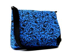 Women's Messenger Bag Purse - Blue and Black with Scroll Print. $43.00, via Etsy.