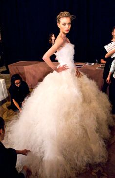 Tanya Dziahileva backstage at Marchesa F/W 2012