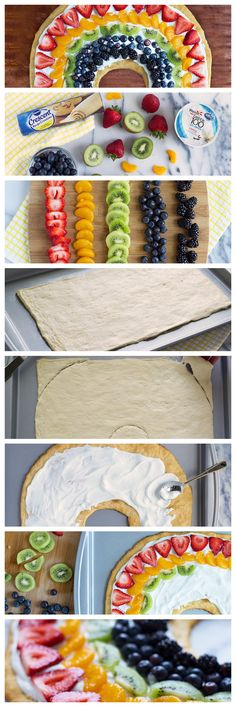 Simple, summery dessert made with crescent dough, a yogurt-cream cheese bas Fruit Pizza Cups, Fruit Pizza Frosting, Healthy Sugar, Healthy Recipes, Baking Recipes, Strip Steak, Nutrition Education, Granola, Cassoulet