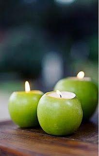 Apple votive holder for wedding table decor- pink lady apples?