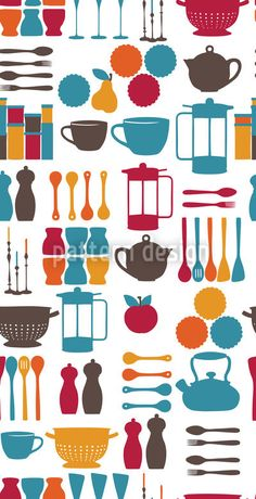 Kitchen stuff in a colorful retro style. Ornaments in yellow, blue, grey and pink colors for every kitchen fairy.