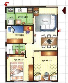 plantas-de-casas-pequenas-modernas Small Tiny House, Small House Plans, Home Design Plans, Plan Design, 3 Bedroom Floor Plan, Luxury House Plans, My Dream Home, Planer, Interior And Exterior