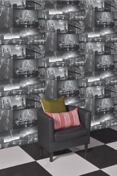 Designer Wallpaper Storm  - Black/White - 98030 A dramatic photographic city scene, this atmospheric design will add drama to any room £10.49 per roll