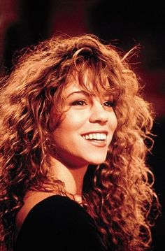 """Mariah Carey - love this look on her! Besides """"Pretty Woman"""" this is the closest hair style I've ever seen to the way I've always worn mine! Mariah Carey 1990, Mariah Carey Quotes, Mariah Carey Lyrics, Jennifer Aniston, Curly Bangs, Curly Hair Styles, Natural Hair Styles, Curly Blonde, Updo Curly"""