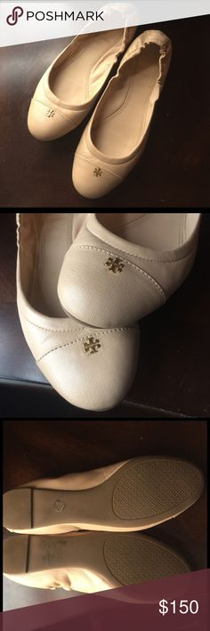 Tory burch flats Worn just a handful of times. Wear shown in photos. Blush pink color which is like a perfect nude. Small gold emblem. Super comfy shoe. Fits a true 9. Tory Burch Shoes
