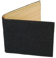 Tom Barrington Black Stingray Leather Billfold Wallet with ID Holder and Natural Leather Interior Tom Barrington. $79.95