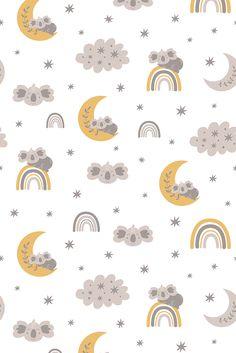 Brave Wallpaper, Boys Wallpaper, Cute Patterns Wallpaper, Animal Wallpaper, Baby Girl Clipart, Sweet Dreams Baby, Sleeping Animals, Baby Illustration, Rainbow Wallpaper