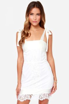 White For Love & Lemons Dallas Ivory Lace Dress at LuLus.com! $250