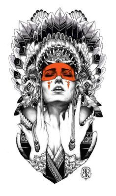 Woman with an Indian headdress - graphic art by Iain Macarthur