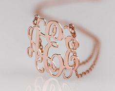 Rose Gold Monogram necklace - 1.25 inch Personalized Monogram - 925 Sterling silver 18k Gold Plated. $47.95, via Etsy.