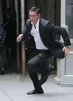 "Actor Jim Caviezel films a running scene on the set of ""Person of Interest"" on April 10, 2012 in New York City, NY."