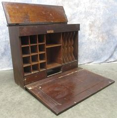 RR Railroad Cubby Hole Cabinet Primitive Wood Desk Post Office Vintage  Office, Cubby Hole,