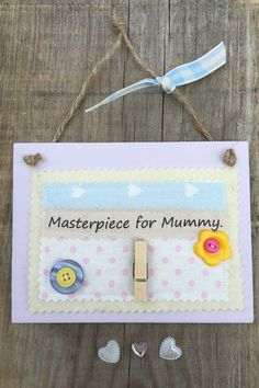 £7.00 ~ masterpiece ~ masterpiece for mummy ~ wooden plaque ~ hanging plaque. visit us on facebook and etsy