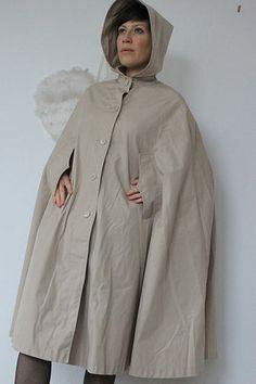 Rain Cape, Raincoat, Fashion, Natural Rubber, Surfboard Wax, Rain, Cowl, Silver, Jackets