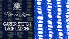 How to Knit the Feathered Lace Ladder Stitch. This video knitting tutorial will help you learn how to knit the feathered lace ladder stitch. For photos and written pattern instructions for this stitch, please visit: . Lace Knitting Patterns, Knitting Stiches, Knitting Videos, Knitting Yarn, Knitting Projects, Crochet Stitches, Stitch Patterns, Knitting Tutorials, Free Knitting