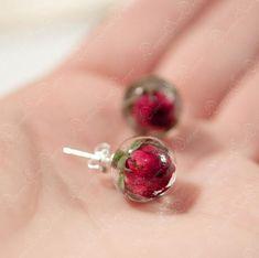 Earrings Stud Red Rose Botanical Jewelry Flower Resin