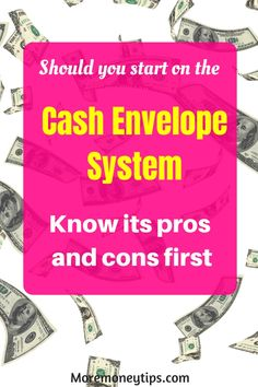 What are the pros and cons of the cash envelope system (CES)? Here are also the top tips for you to make the system a success and skyrocket your finances. Weekly Budget, Budget Binder, Budget Planner, Money Tips, Money Saving Tips, Cash Envelope System, Household Budget, Cash Envelopes, Money Saving Challenge